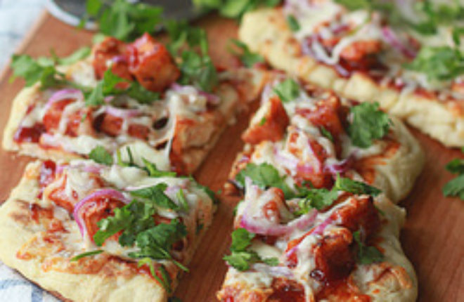 Barbecue tofu pizza with optional chicken substitution | Kitchen Treaty