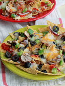 Combination pizza nachos with optional pepperoni and sausage | Kitchen Treaty