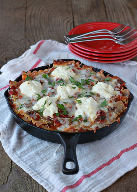 Easy cheesy veggie skillet lasagna | Kitchen Treaty