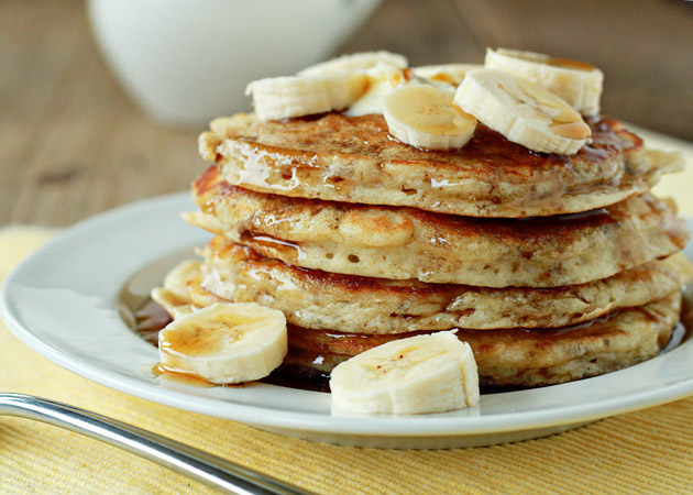 Stack of fluffy banana pancakes