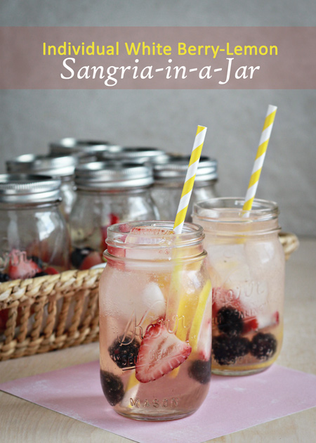 Individual white berry lemon sangria in a jar - personal, individually-portioned sangrias made and served in the very same jar! Just add ice, soda, and a straw. | Kitchen Treaty