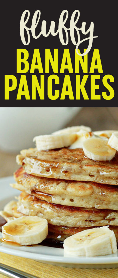 Tall, fluffy, perfect for Sunday morning! Fluffy Banana Pancakes recipe - Uber-fluffy yet moist thanks to mashed banana mixed into the batter, these pancakes make for the perfect weekend morning breakfast. Dairy-free option.
