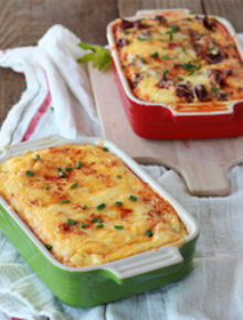 Chiles rellenos breakfast strata with optional chorizo for the meat-eaters | Kitchen Treaty