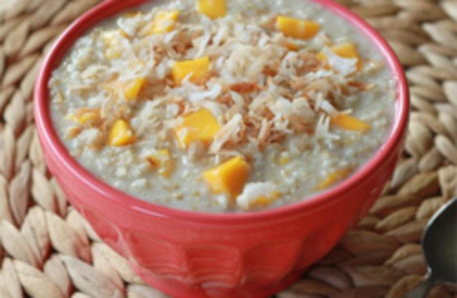 Creamy mango coconut steel-cut oatmeal | Kitchen Treaty