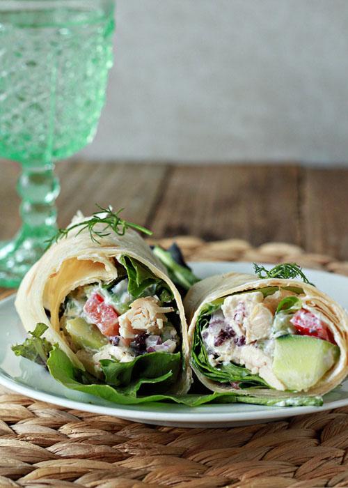 Vegetarian Creamy Greek Salad Sandwich Wraps (Chicken ...