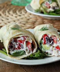 Creamy Greek salad sandwich wraps with optional chicken | Kitchen Treaty