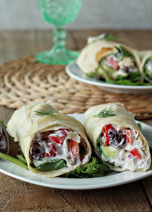 Vegetarian Creamy Greek Salad Sandwich Wraps (Chicken Option) (+ a ...