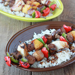 Hawaiian Teriyaki Shish Kabobs Two Ways (with Field Roast or Beef and Chicken Sausage)