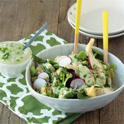 Spring veggie salad with creamy avocado ranch dressing | Kitchen Treaty