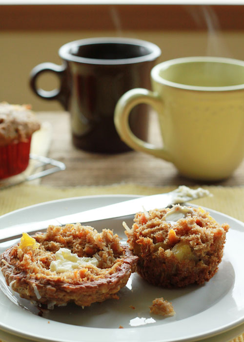 Good morning sunshine muffins (Carrot, coconut, and pineapple muffins) - With sunny bits of carrot, coconut, and pineapple, these super-moist, super happy muffins are another reason to smile on even the dreariest of days.