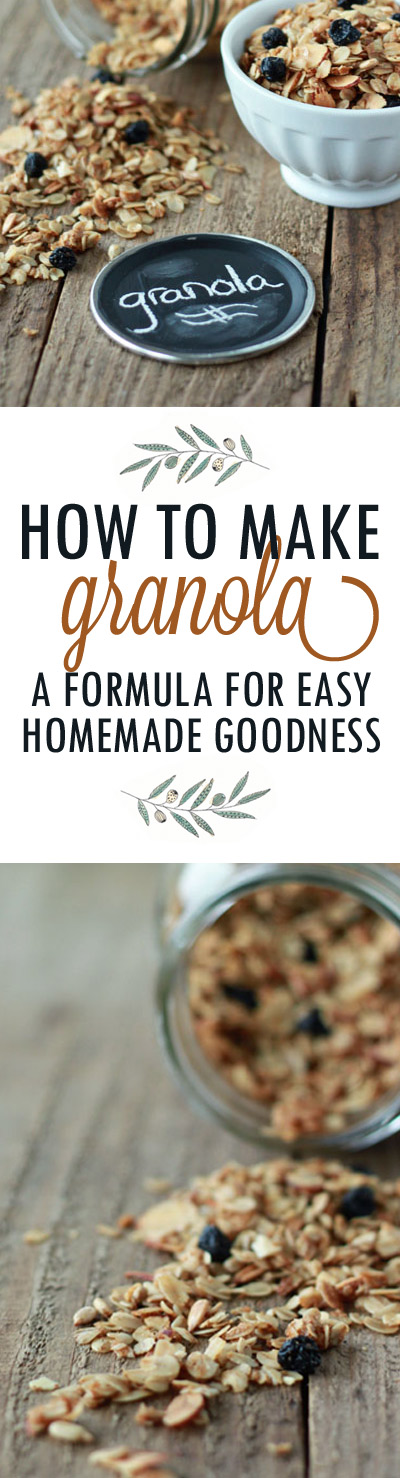 How to Make Granola - An easy how-to and formula for homemade granola! Customize however you like for your very own version. (It's so, so, so much cheaper to make it at home than buy it in the store, too!) Dairy-free/vegan and no refined sugar options included.