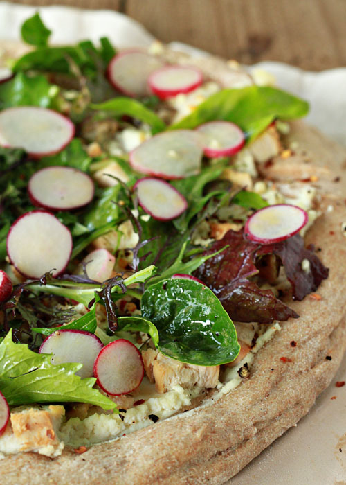 Radish and Goat Cheese Pizza with Spicy Mixed Greens and Optional Chicken | Kitchen Treaty