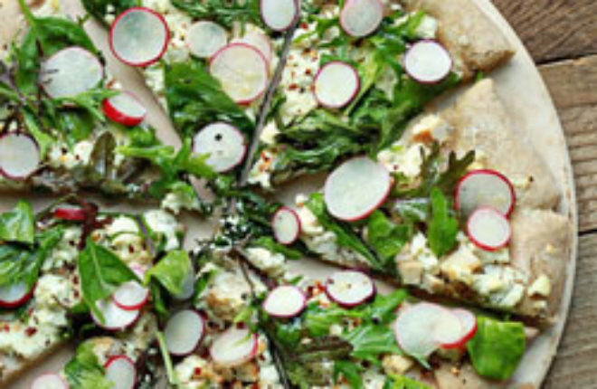 Radish and Goat Cheese Pizza with Spicy Mixed Greens and Optional Chicken   Kitchen Treaty