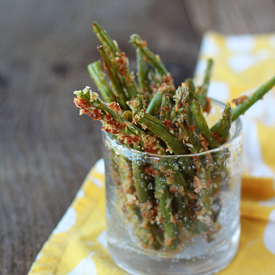 Parmesan Panko Crusted Baked Green Bean Fries - Kitchen Treaty