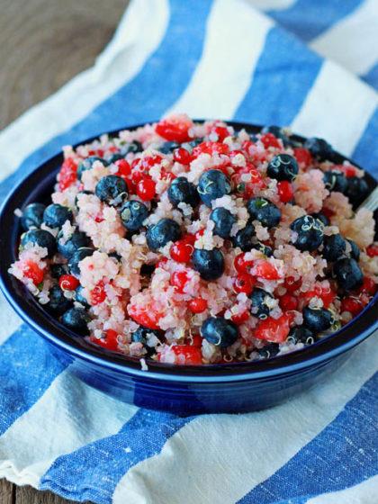 Red, White & Blue Quinoa Berry Salad | Kitchen Treaty