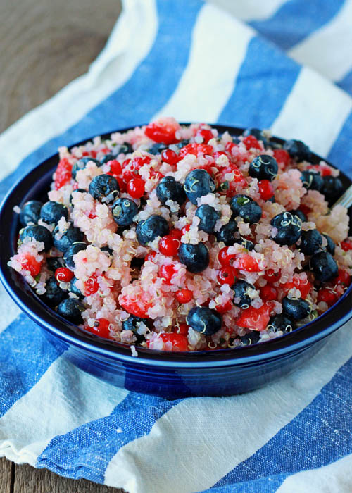 Red, White & Blue Quinoa Berry Salad | Kitchen Treaty
