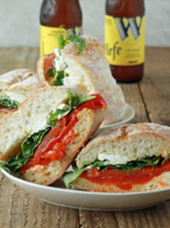 Roasted Red Pepper, Baby Arugula, & Goat Cheese Sandwiches with Optional Bacon   Kitchen Treaty