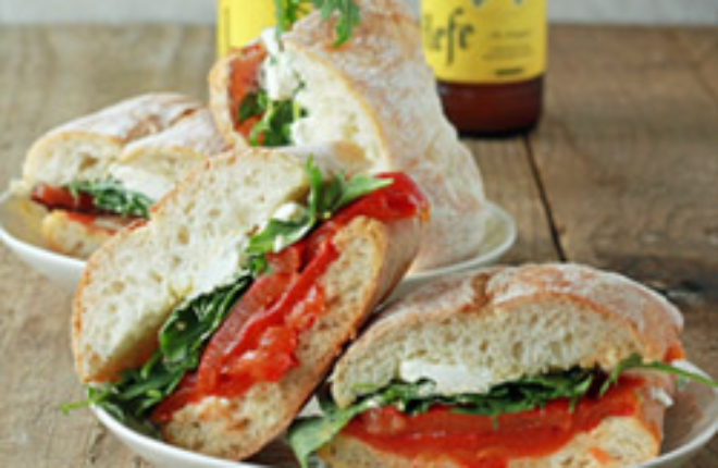 Roasted Red Pepper, Baby Arugula, & Goat Cheese Sandwiches with Optional Bacon | Kitchen Treaty