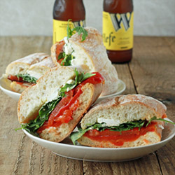 Roasted Red Pepper, Baby Arugula, & Goat Cheese Sandwiches with Optional Bacon