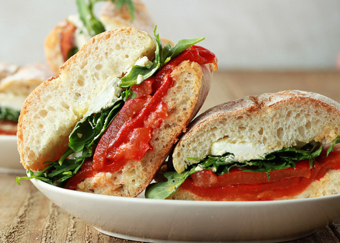 Roasted Red Pepper Baby Arugula Goat Cheese Sandwiches