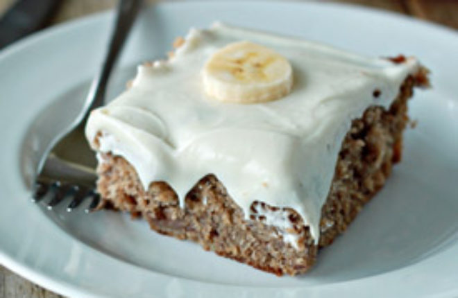 Banana Spice Snack Cake with Cream Cheese Icing | Kitchen Treaty