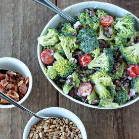 Broccoli Raisin Salad Your Way (with Optional Bacon & Sunflower Seeds)
