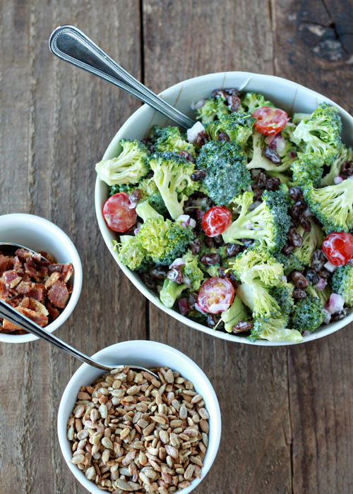 Broccoli Raisin Salad Your Way (with Optional Bacon and Sunflower Seeds) | Kitchen Treaty