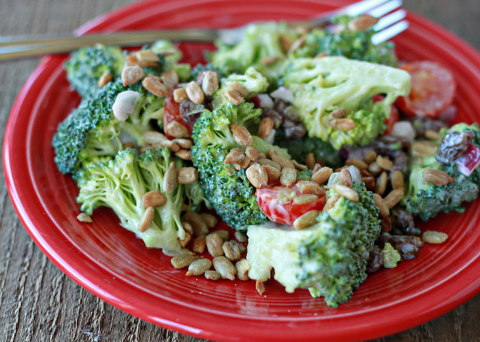 Broccoli Raisin Salad with Sunflower Seeds