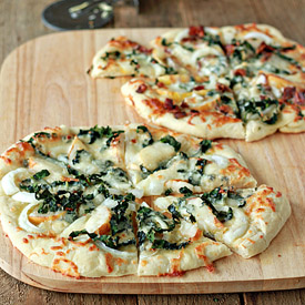 Gorgonzola, Pear, & Kale Pizza with Optional Bacon