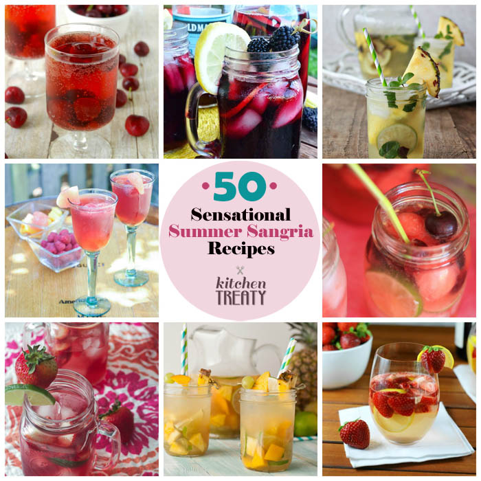 50 Sensational Summer Sangria Recipes - strawberry peach, pineapple mojito, cherry lime, and so many more sangria recipes