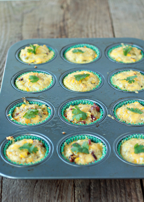 Cheddar Corn Quinoa Mini Frittatas with Optional Bacon | Kitchen Treaty
