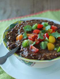 Crock Pot Vegan Black Bean & Brown Rice Soup   Kitchen Treaty