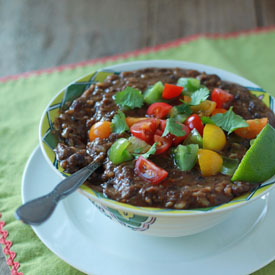 Crock Pot Vegan Black Bean and Brown Rice Soup