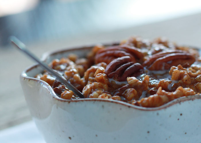 Crock Pot Pumpkin Pecan Steel Cut Oatmeal | Kitchen Treaty