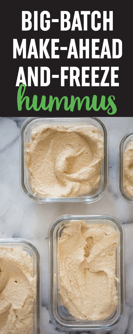 Meal-prep hummus? Why not?! This recipe makes a huge batch of classic hummus that you can keep in the freezer until you're ready to enjoy. So easy! #hummus #mealprep #freezermeals