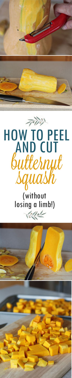 How to Peel and Cut a Butternut Squash (without losing a limb!) - 1. Peel with vegetable peeler 2. Cut off the top and bottom 3. Set solidly on bottom and cut in half down the middle 4. Scoop out seeds 5. Cut into slices 6. Cut into spears 7. Cut spears into cubes