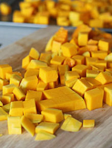 how to cut up a butternut squash square
