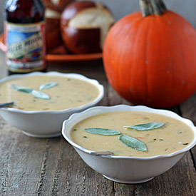Pumpkin Ale Beer Cheese Soup with Sharp Cheddar and Gruyere | Kitchen Treaty