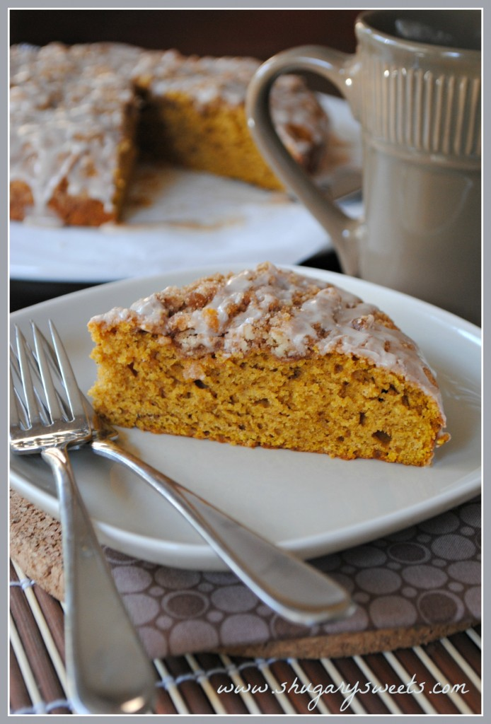 Pumpkin Coffee Cake with Cinnamon Streusel from Shugary Sweets // 45 Glorious Pumpkin Breakfast Recipes | Kitchen Treaty