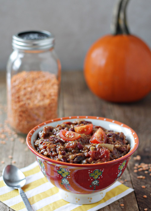 Crock Put Pumpkin Red Lentil Chili | Kitchen Treaty