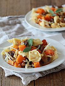 Tortellini with Butternut Squash, Mushrooms, Gruyere, and Optional Sausage | Kitchen Treaty