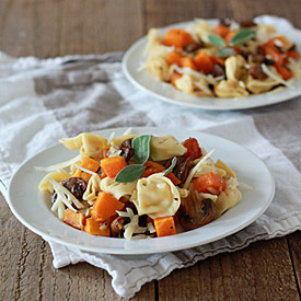 Tortellini with Butternut Squash, Mushrooms, Gruyere, and Optional Sausage
