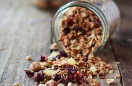 Hazelnut-Pistachio Granola with Dried Cherries and Candied Ginger