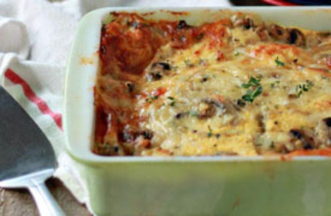 Mushroom and Swiss Breakfast Strata with Optional Bacon | Kitchen Treaty
