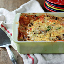 Mushroom Swiss Breakfast Strata with Optional Bacon