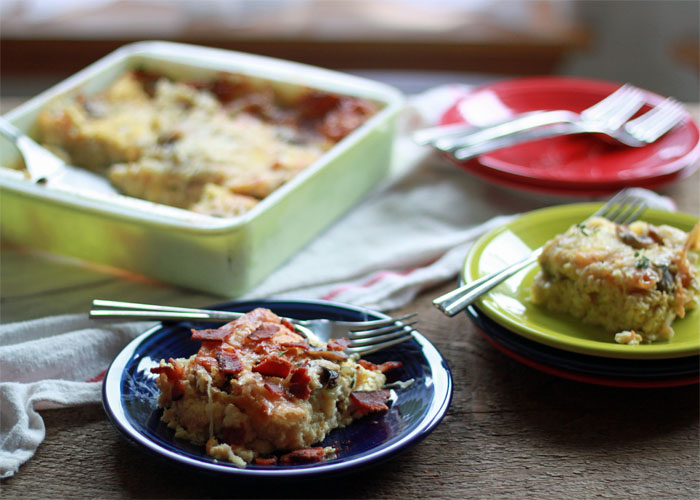 Mushroom and Swiss Breakfast Strata with Optional Bacon   Kitchen Treaty
