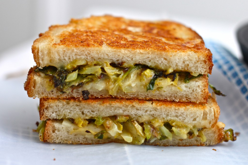 Roasted Brussels Sprouts and Apple Grilled Cheese from The Corner Kitchen // 30 Vegetarian Recipes for Thanksgiving Leftovers | Kitchen Treaty