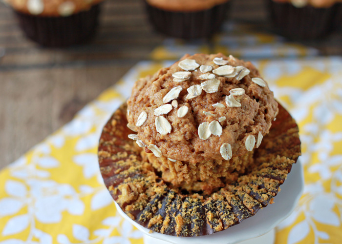 Whole Wheat Pumpkin Oat Muffins // 30 Vegetarian Recipes for Thanksgiving Leftovers | Kitchen Treaty