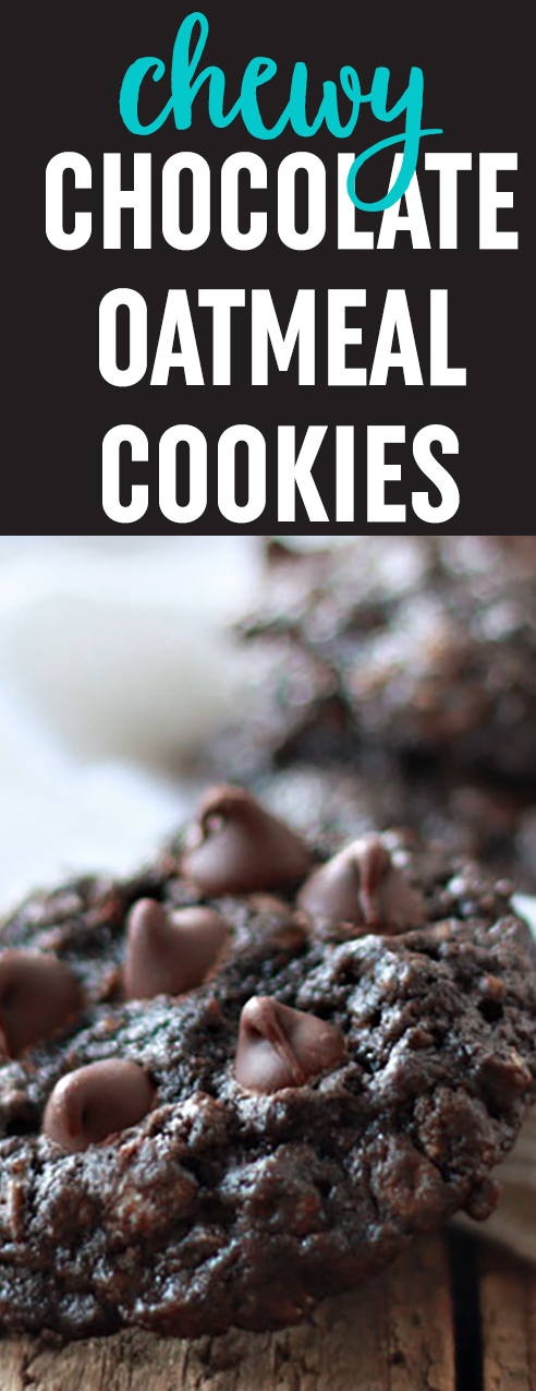 Super simple and supremely chocolaty, these chewy chocolate oatmeal cookies are stuffed to the brim with chocolate chip goodness. #chocolatechip #oatmealcookies #afterschoolcookies