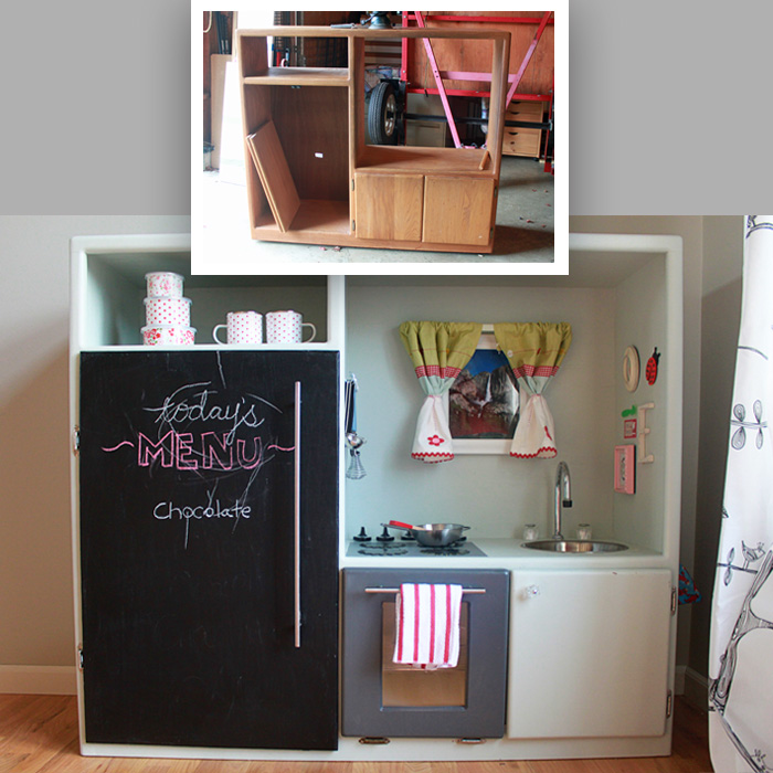 DIY play kitchen made from an old entertainment center | Kitchen Treaty #upcycle